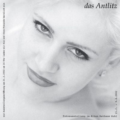 """Flyer zur Fotoausstellung """"Das Antlitz des Menschen"""" (Foto: Andreas Geyer, Grafikdesign: Andreas Kuhrt 2002)"""