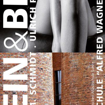 Fotoausstellung Stein & Bein (Plakat) . Musikschule Suhl . 2013 (Fotos: Uli Pfeufer, Peter M. Schmidt, Gestaltung: Andreas Kuhrt)