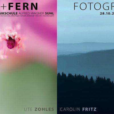 "Fotoausstellung ""Nah + Fern"" (Plakate) . Carolin Fritz + Ute Zohles . Musikschule Suhl . 2014 (Fotos: Ute Zohles, Carolin Fritz, Gestaltung: Andreas Kuhrt)"