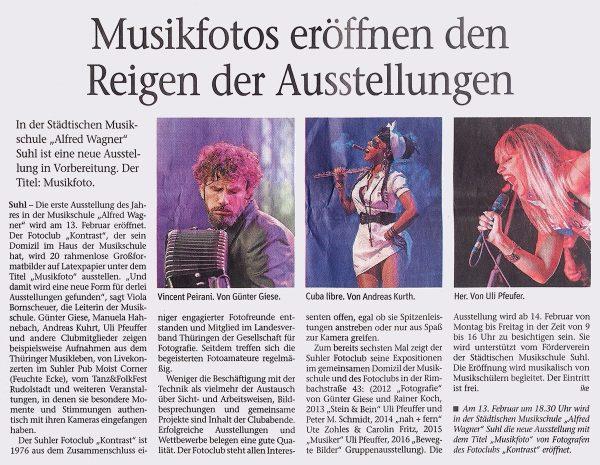 "Musikfotos eröffnen den Reigen der Ausstellungen . Heike Hüchtemann . ""Freies Wort"" . 02.02.2018"