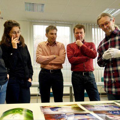 Jury zur 11. Thüringer Landesfotoschau (vlnr): Andrea Karle (Weimar), Nora Klein (Erfurt), Hans Schlüter (Leipzig), Peter Michaelis (Gera) und Frank Rüdiger (Gera) . Gera 24.02.2018 (Foto: Eckhardt Schön)