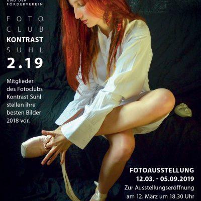 Plakat: Fotoausstellung Fotoclub Kontrast Suhl 2.19 . Musikschule Suhl 2019 (Foto: Günter Giese, Grafikdesign: Andreas Kuhrt)