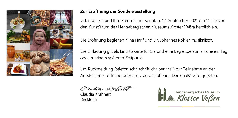 Museum Kloster Veßra: Einladungskarte Sonderausstellung Heimat geht durch den Magen . 12.09.2021